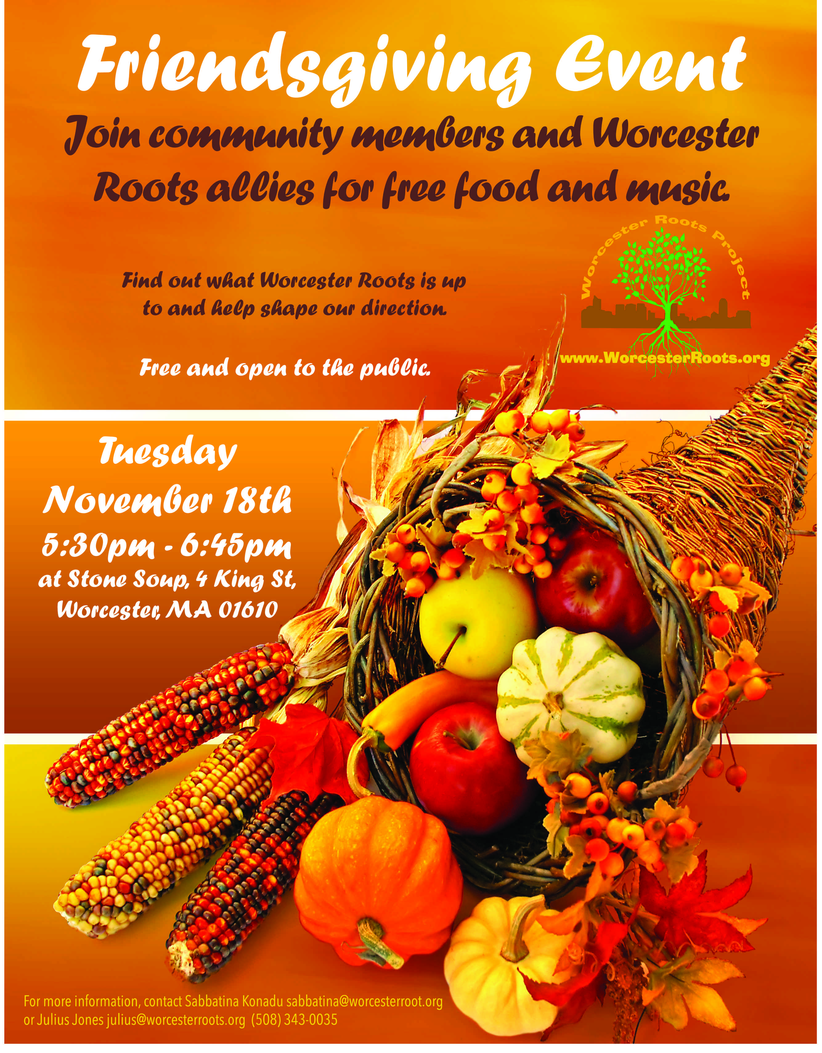 Come To The Roots Friendsgiving Event Worcester Roots